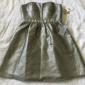 aidan mattox // metallic gold strapless mini dress